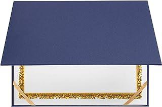 证书夹 - 文凭封面,信纸大小*证书文件封面,黑色带银色内衬,29.21 x 22.86 厘米 4 Ribbons 蓝色