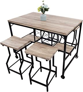 LUCKYERMORE 5 Piece Counter Height Dining Table Set Kitchen Table and 4 Bar Chair High Top Table Chair Set for Any Room, White