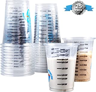 Best Clever Measure Disposable Mixing Cups Pack of 25 8oz Graduated Clear Plastic Measuring Cups Multipurpose Mixing Resin Epoxy Paint Stain Art Supplies Cooking & Baking Calibrated Measurements in ML & OZ Review