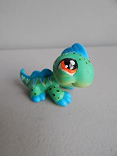 Iguana #906 (Green, Blue Spikes, Orange Eyes, White Triangles, Black Dots) - Littlest Pet Shop (Retired) Collector Toy - LPS Collectible Replacement Single Figure - Loose (OOP Out of Package & Print)