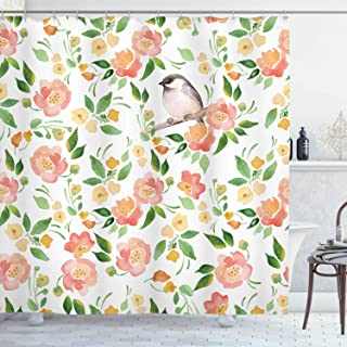 Ambesonne Floral Shower Curtain, Flower Petals Blossoms Leaves and Bird Sitting Vintage Inspired Image, Cloth Fabric Bathroom Decor Set with Hooks, 70