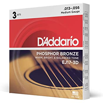 D'Addario EJ17 Phosphor Bronze Acoustic Guitar Strings, Medium (3 Pack) – Corrosion-Resistant Phosphor Bronze, Offers a Warm, Bright and Well-Balanced Acoustic Tone and Comfortable Playability