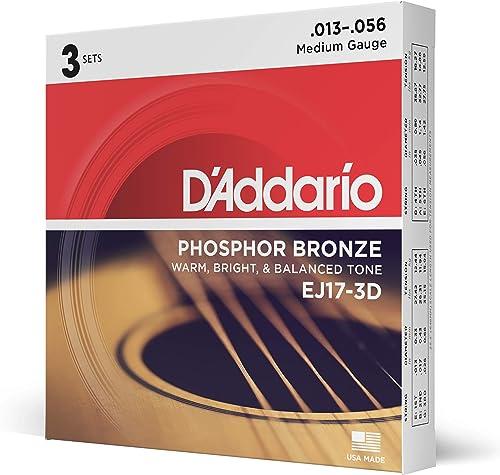 D'Addario EJ17 Phosphor Bronze Acoustic Guitar Strings, Medium (3 Pack) – Corrosion-Resistant Phosphor Bronze, Offers...