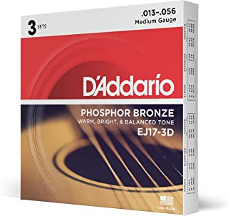 D�Addario EJ17 Phosphor Bronze Acoustic Guitar Strings, Medium (3 Pack) � Corrosion-Resistant Phosphor Bronze, Offers a Warm, Bright and Well-Balanced Acoustic Tone and Comfortable Playability