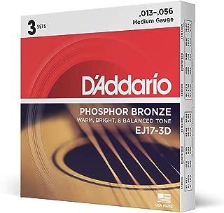 D'Addario EJ17 Phosphor Bronze Acoustic Guitar Strings, Medium (3 Pack) –..