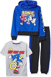 تي شيرت SEGA Little Sonic The Hedgehog Graphic Hoodie وبنطلون رياضي رياضي، 3 قطع مجموعة ملابس رياضية للأولاد 4-20، ملكي/أس...
