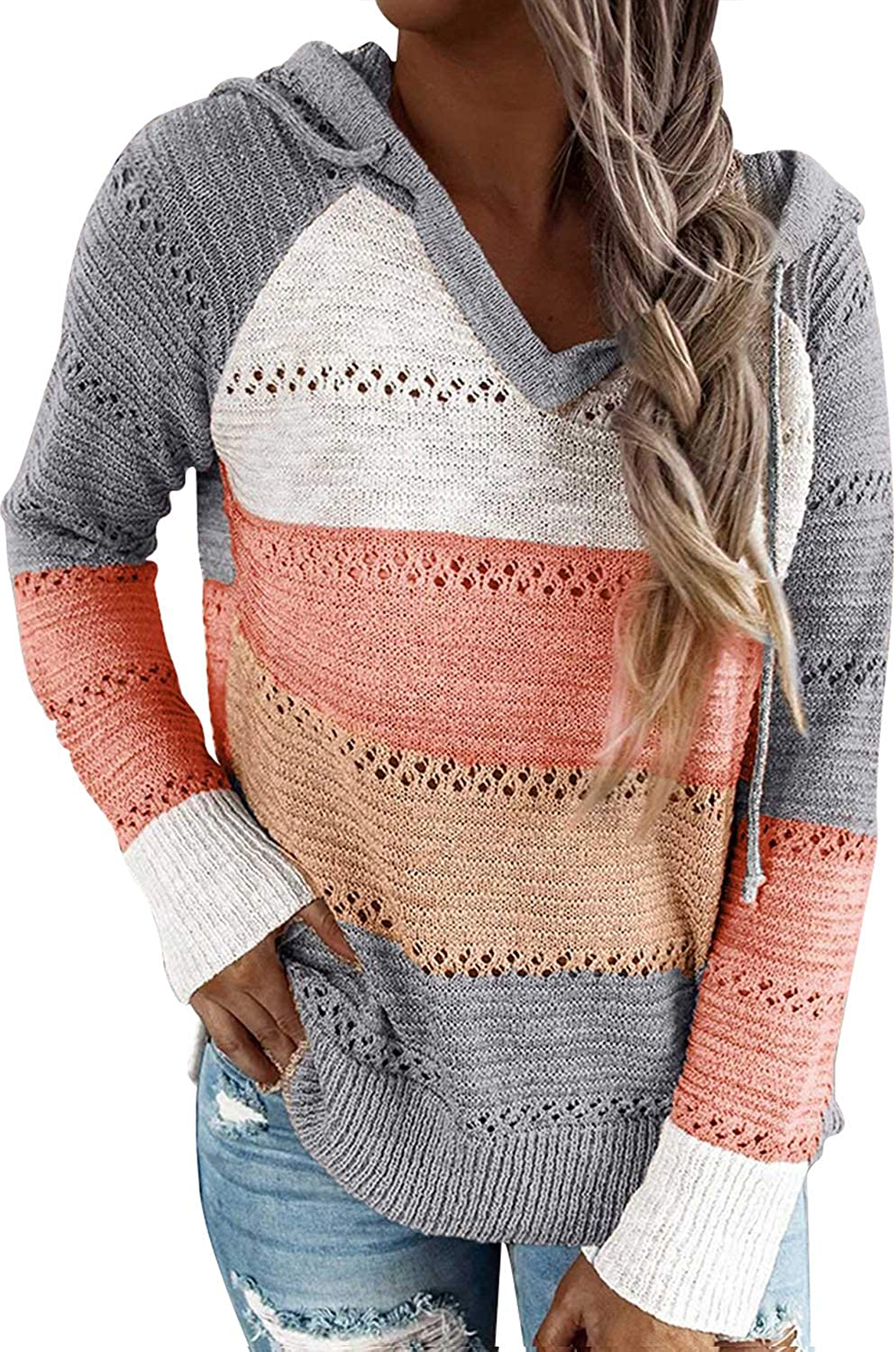 Pink Queen Women's Striped Color Block Hoodie Sweater Long Sleeve V Neck Casual Hollow Out Knit Pullover Tops