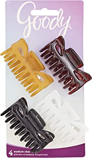 Goody Hair Classics Women's Medium Claw Hair Clip, Assorted Colors 4 ea, 4 Count (Pack of 1) (packaging may vary)