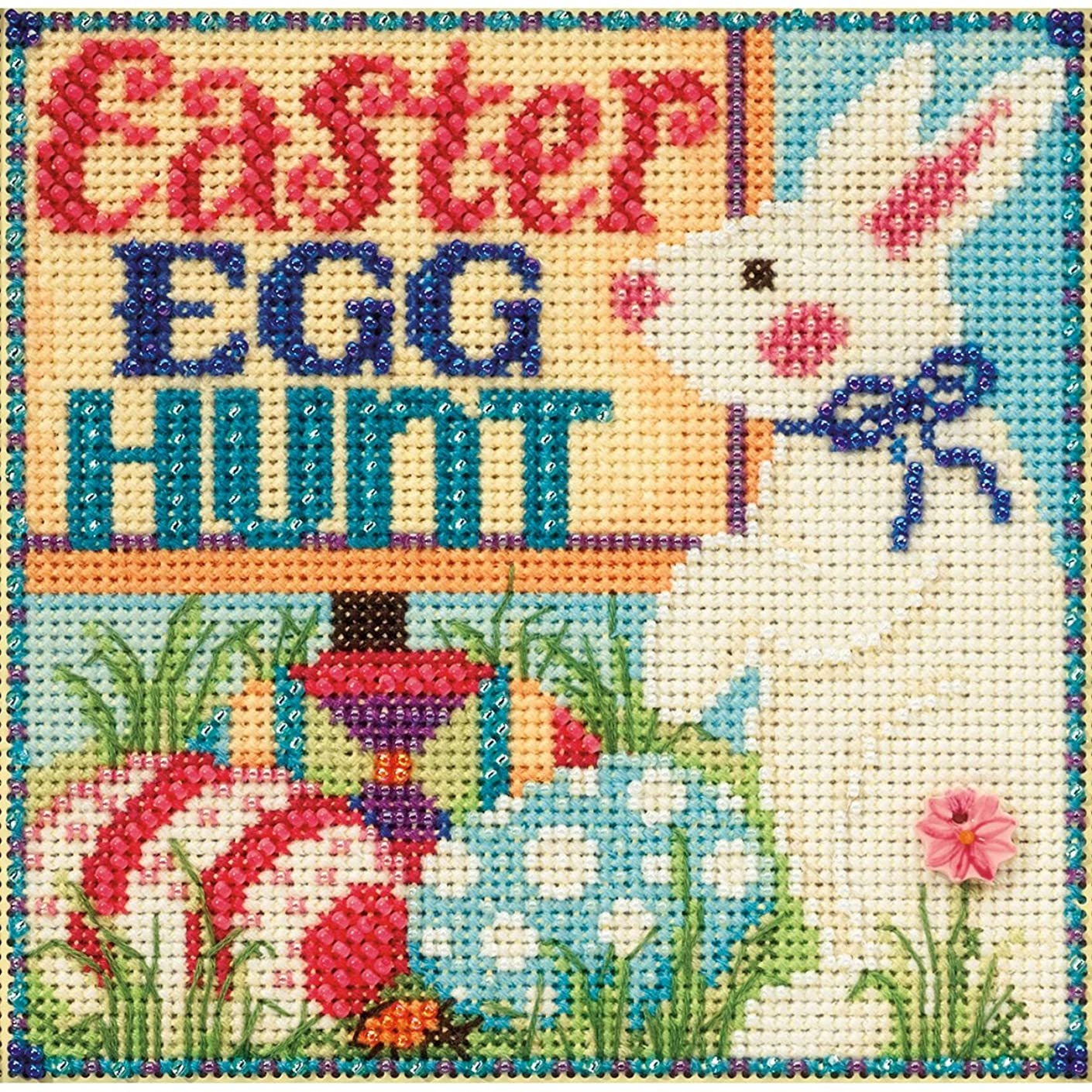 Egg Hunt Beaded Counted Cross Stitch Kit Mill Hill 2015 Buttons & Beads Spring MH145106