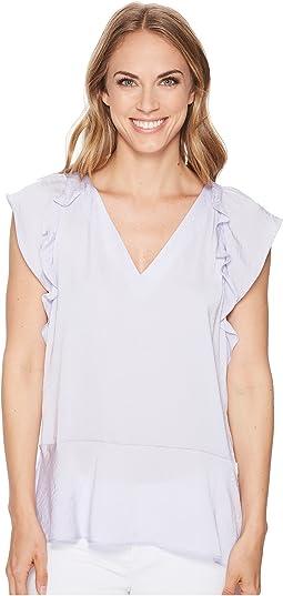Flounce V-Neck Short Sleeve Top