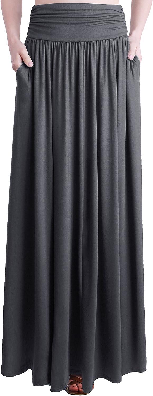 TRENDY UNITED Women's Rayon Spandex High Waist Shirring Maxi Skirt with Pockets