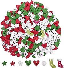 LK/_ 50Pcs Christmas Deer Wood Buttons Round Craft Scrapbook Sewing DIY Decor M