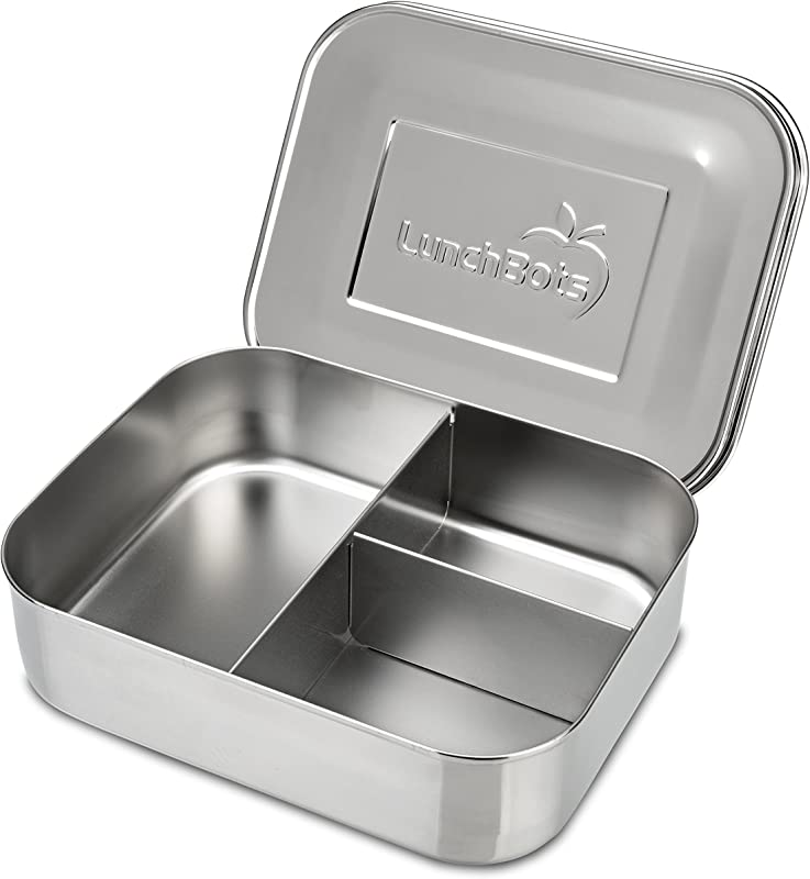 LunchBots Medium Trio II Snack Container Divided Stainless Steel Food Container Three Sections For Snacks On The Go Eco Friendly Dishwasher Safe BPA Free Stainless Lid All Stainless