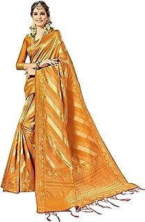 Viva N Diva Sarees for Women's Kanchivaram Art Silk Heavy Zari Woven Saree with Un-Stiched Blouse Piece,Free Size