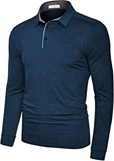 TAPULCO Fresca Mens Polo Shirts Dry Fit Performance Solid Color Long Sleeve Glof T Shirts