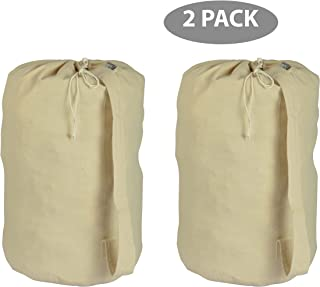 ACCENTHOME Accent Home Cotton Canvas Printable Laundry Draw String Plain Bag 2 Pc Pack Large 15x28 (Dia x H) for Heavy Duty and Extra Space with Sturdy Handle for Shoulder Carrying