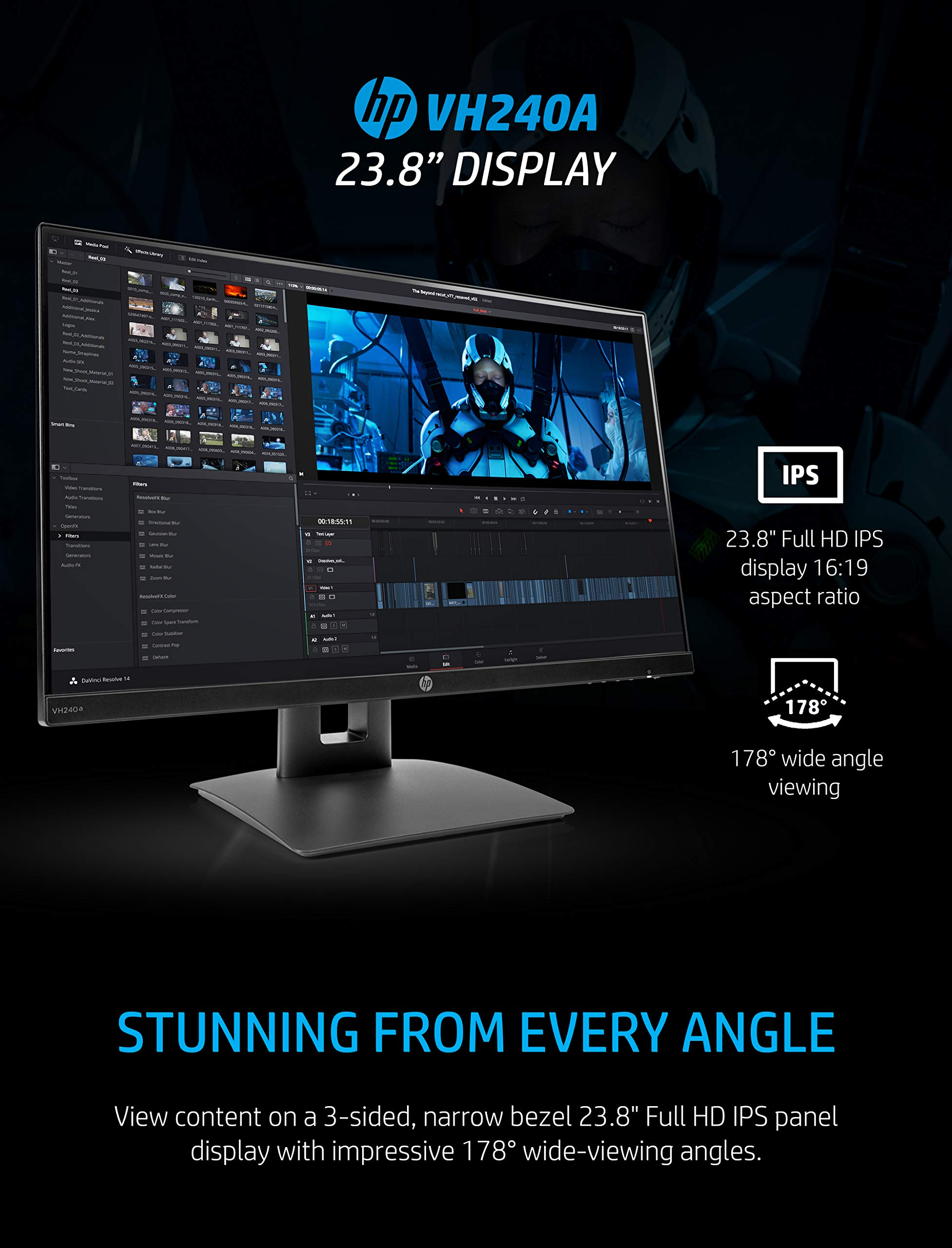 HP VH240a 23.8-Inch Full HD 1080p IPS LED Monitor with Built-In Speakers and VESA Mounting, Rotating Portrait & Landscape, Tilt, and HDMI & VGA Ports (1KL30AA) - Black