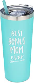 SassyCups Best Bonus Mom Ever Tumbler | 22 Ounce Engraved Mint Stainless Steel Insulated Tumbler with Lid and Straw | Like a Mom | Stepmom Presents