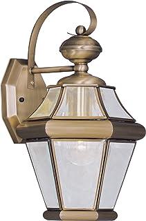 Livex Lighting 2161-01 Georgetown 1-Light Outdoor Wall Lantern, Antique Brass