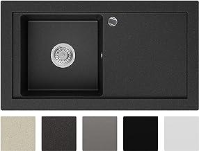Granieten Gootsteen Grafiet + Automatische Sifon + Antibacterieel Oppervlak, Voor Keukenkasten vanaf 60 cm, Grootte 89 x 4...