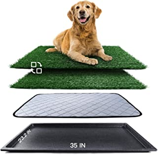 Upgrade Large Dog Grass Pad with Tray (35''X23.2''), Artificial Grass Mats Washable Pee Pad and Professionally Pet Toilet ...