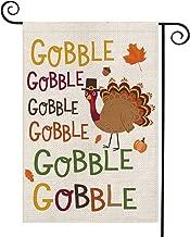 AVOIN Gobble Gobble Turkey Garden Flag Vertical Double Sized, Fall Thanksgiving Burlap Yard Outdoor Decoration 12.5 x 18 Inch