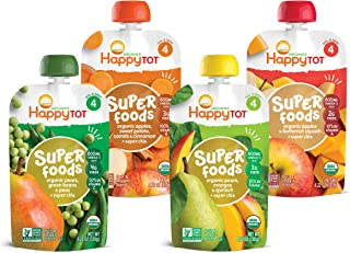 Happy Tot Organics Stage 4 Superfoods Variety Pack, 4.22 Ounce Pouch (Pack of 16) Green Beans/Pear/Pea, Sweet Potato/Apple...