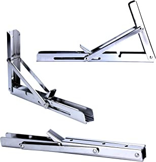 Best Amarine Made Polished 304 Stainless Steel Folding Shelf Bench Table Folding Shelf or Bracket, Max Load: 330lb, Short Release Arm (Single, Non Pair) Review