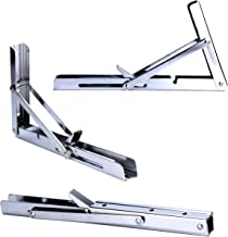 Amarine-made Polished 304 Stainless Steel Folding Shelf Bench Table Folding Shelf or Bracket, Max Load: 330lb, Short Release Arm (Single, non pair)