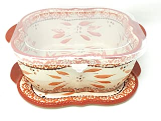 Temp-tations Baker/Casserole Dish 2.0 Qt w/Lid-It (Trivet), Plastic Cover (Old World Spice)