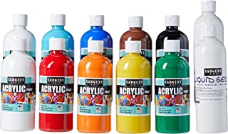 Sargent Art (SARAD) 24-6103 16oz Acrylic Paint Set, 9 Colors, 2 Gesso, 16 Oz, Assorted 12 Piece