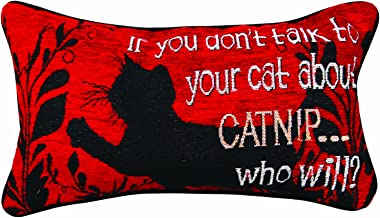 Manual Kitty Talk Pet Collection Throw Pillow with Piping, 17 X 9-Inch, Catnip X Kate Ward