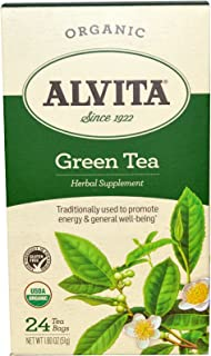 Alvita Teas, Green Tea, Organic, 24 Bags, 1.80 oz (51 g) - 2pc