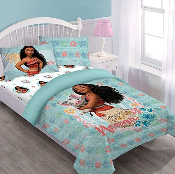 Disney Princess Moana Pua Twin Sized 3 Pieces Bedding Set