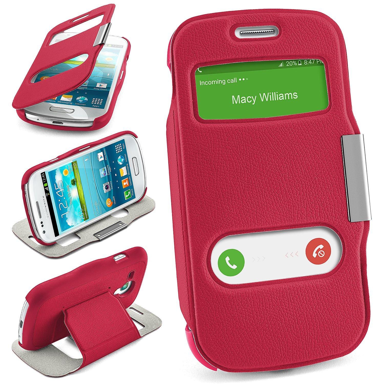 Bolso OneFlow para Funda Samsung Galaxy S3 Mini Cubierta con Ventana | Estuche Flip Case Funda móvil Plegable | Bolso móvil Funda Protectora Accesorios móvil protección paragolpes en Berry-Fuchsia: Amazon.es: Electrónica