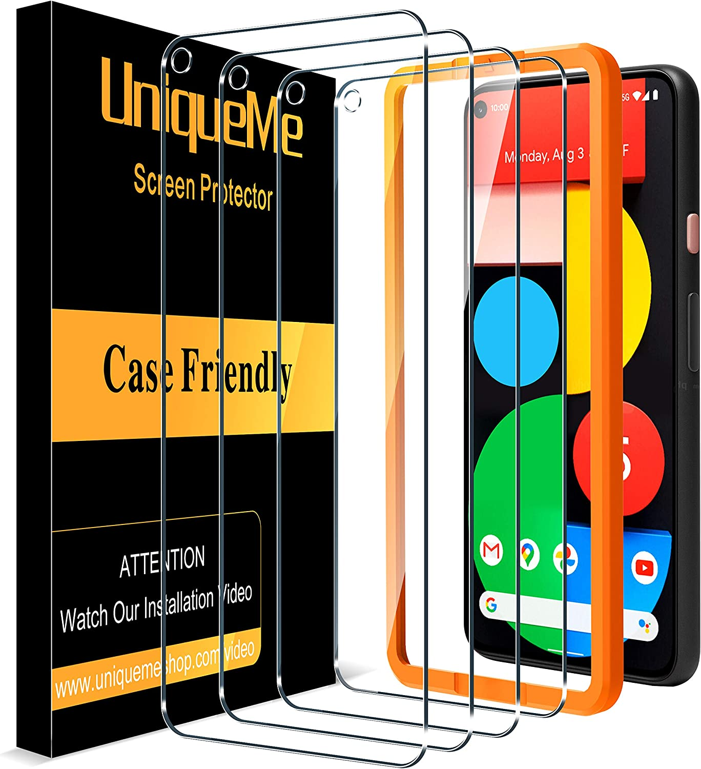[4 Pack] UniqueMe Screen Protector for Google Pixel 5 Tempered Glass, [Case Friendly] 9H Hardness [Easy Installation Frame] High Definition Bubble Free