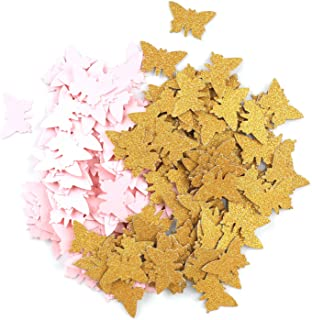Double- Side Glitter Gold and Pink Butterfly Confetti Wedding Bithday Parties Confetti 200pcs Baby Shower Decorations Tabl...