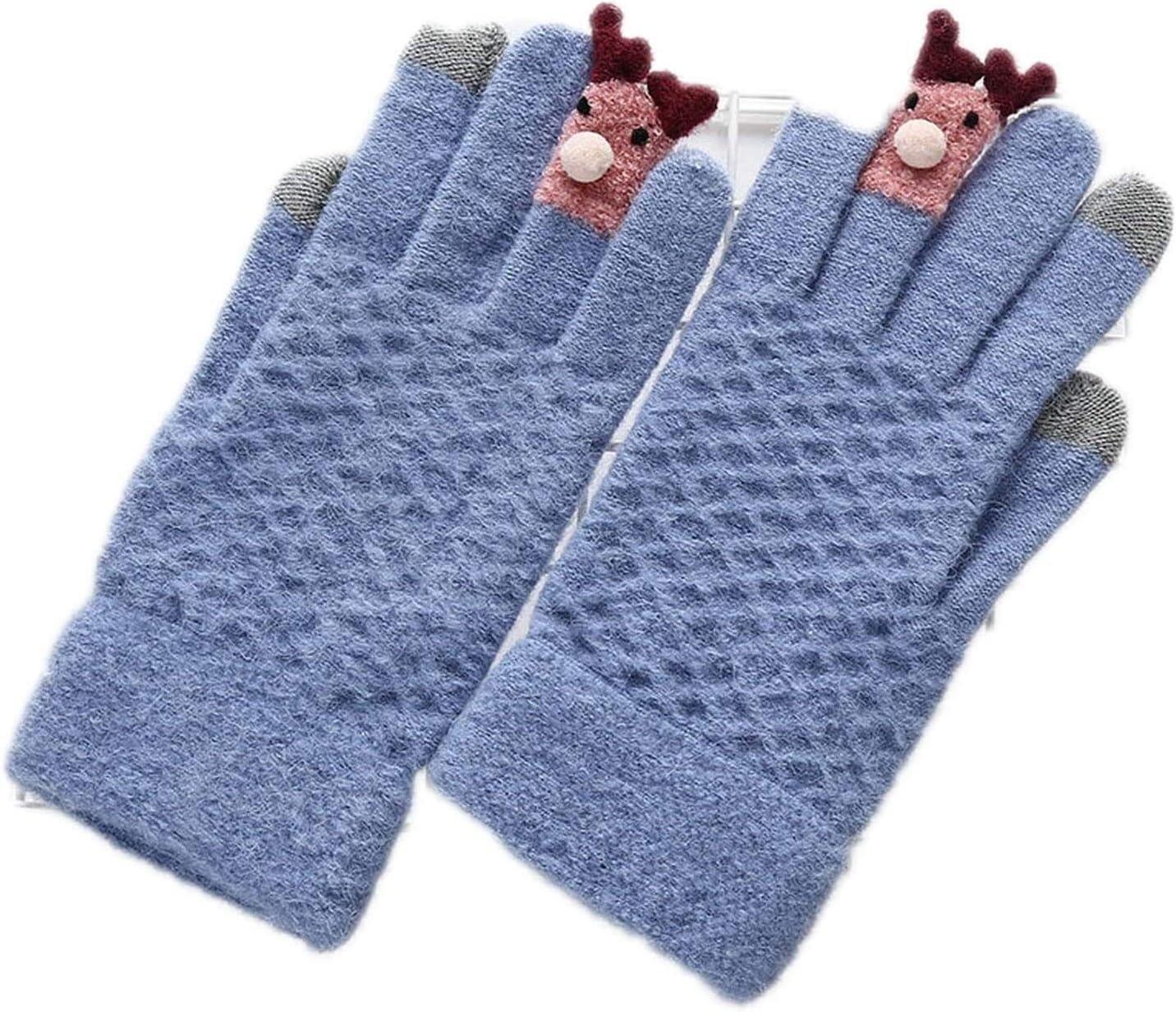 Samantha Warm Gloves Ladies Winter Warm Cute Cartoon Finger Knit Touch Screen Gloves Women Full Finger Soft Mittens Black Gloves (Color : F Sky Blue, Size : Oneszie)