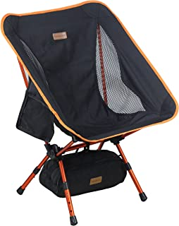 Trekology YIZI GO Portable Camping Chair with Adjustable Height - Compact Ultralight Folding Backpacking Chairs in a Carry Bag, Heavy Duty 300 lb Capacity, for Hiker, Camp, Beach, Outdoor (Certified Refurbished)