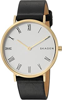 Skagen Women's Slim Hald Stainless Steel Analog-Quartz Watch with Leather Calfskin Strap, Black, 16 (Model: SKW2678)
