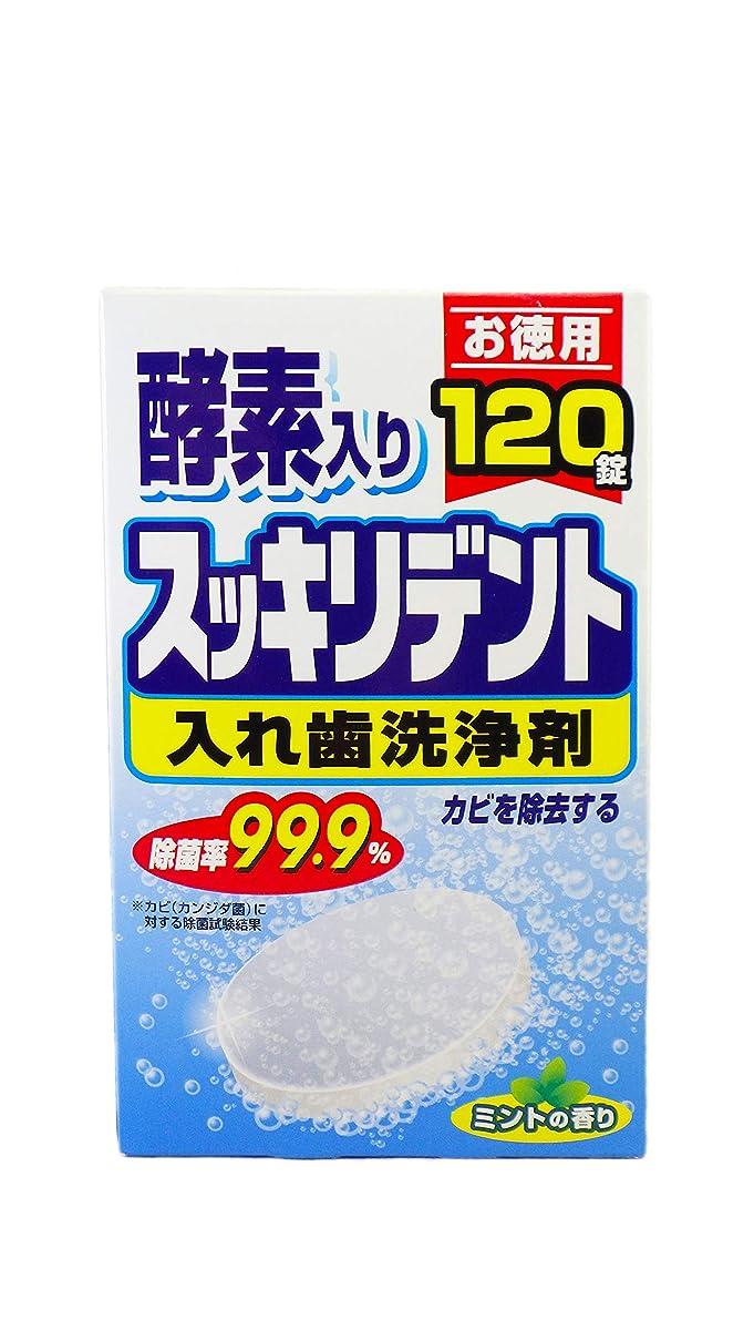 刺繍適切に誘発するスッキリデント 入れ歯洗浄剤 総入れ歯用 酵素入り ミントの香り 120錠入