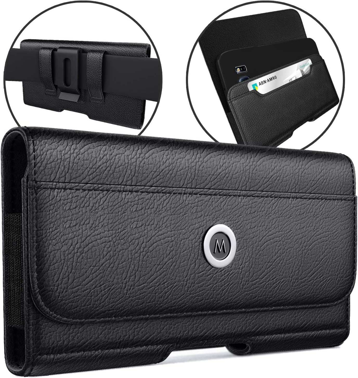 Belt Case Designed for iPhone 12 Pro iPhone 11 Belt Holster with Belt Clip Belt Loop Carrying Pouch Belt Holder Built in ID Holder Fits iPhone 12 Pro/ 12/ 11/ XR w/Otterbox Commuter Case on
