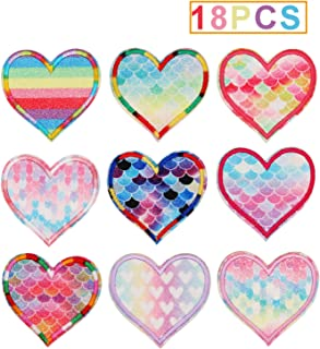 18pcs Colorful Glitter Love Heart Iron on Patches Embroidered Motif Applique Decoration Sew On Patches Custom Patches for DIY Jeans, Jacket, Kid's Clothing, Bag,Caps,Arts Craft Sew Making (Love Heart)