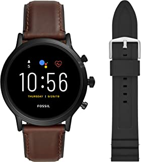 Unisex 44MM Gen 5 Carlyle HR Heart Rate Stainless Steel and Leather Touchscreen Smart Watch + 22MM interchangable Black Silicone Band