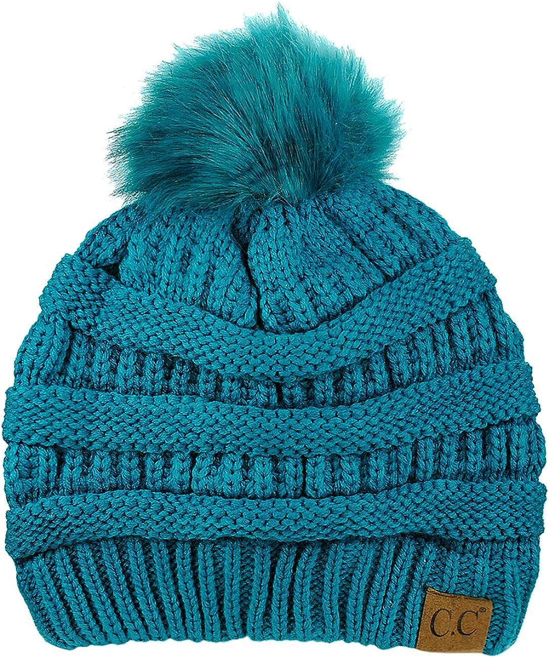 NYFASHION101 Exclusive Soft Stretch Trust Cable Knit Brand Cheap Sale Venue Pom Fur Faux