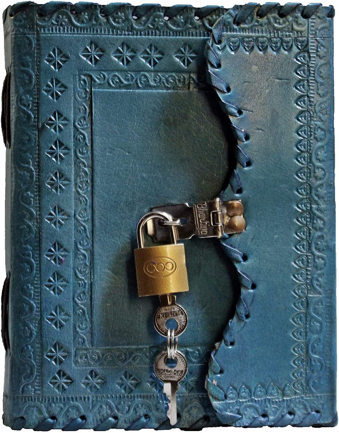 TUZECH Leather Journal for Men and Women Leather Diary to Write Poems,Sketchbook, Record Keeping Notebook Personal Memoir with Lock and Key - Unlined (Blue)