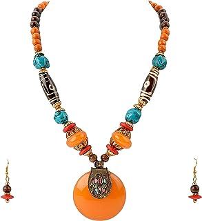 Zephyrr Saffron Tibetan Stone Dzi Beads Necklace Set with Earrings for Women