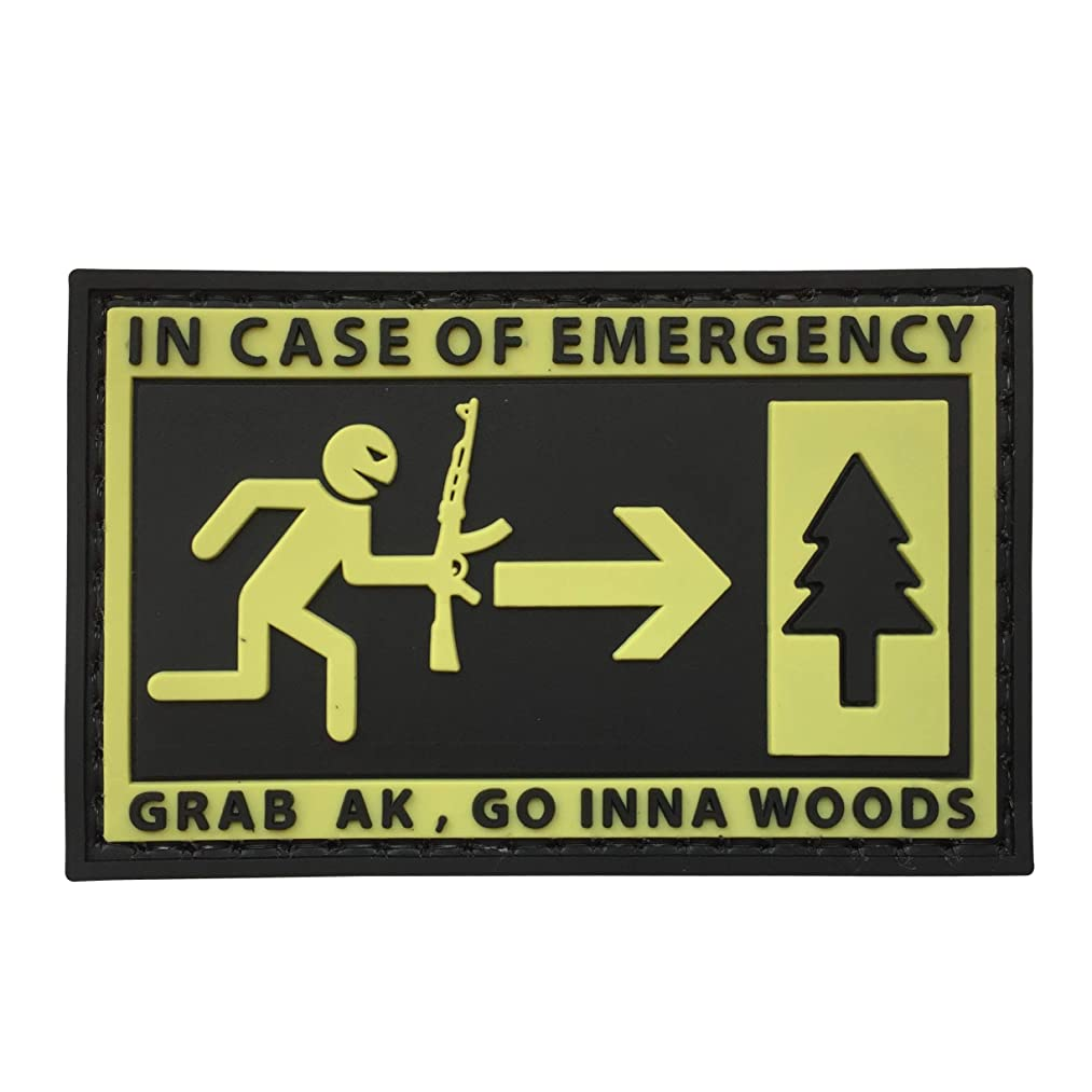 in Case of Emergency,Grab AK and Go into Woods 3D Rubber Morale Patch Military Tactical Airsoft by uuKen Tactical Gear