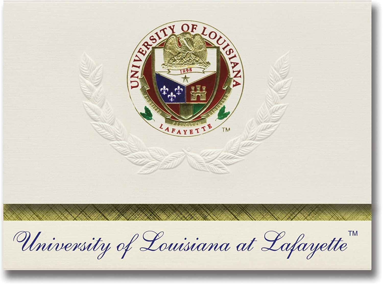 Signature Signature Signature Ankündigungen University of Louisiana AT Lafayette Graduation Ankündigungen, platin Stil, Elite Pack 20 mit u. der louisiana-lafayette Dichtung Folie B0793JTY21  | Hochwertig  7606ed