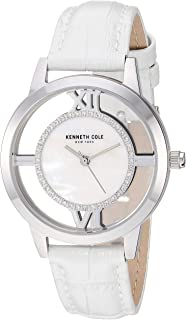 Women's Transparency Stainless Steel Japanese-Quartz Watch with Leather Strap, White, 16 (Model: KC50914001)